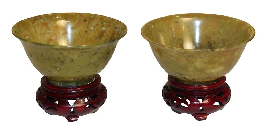 Pair Of Spinach Jade Dishes On Stands
