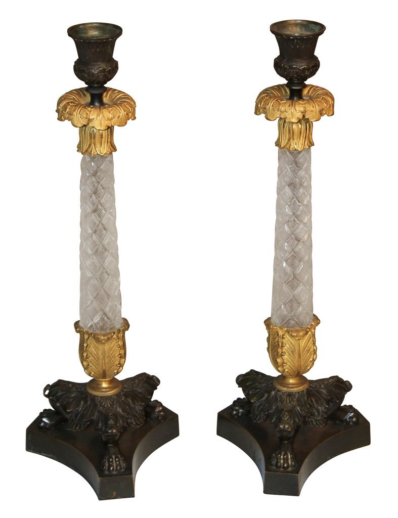Pair Of French Bronze And Crystal Candlesticks