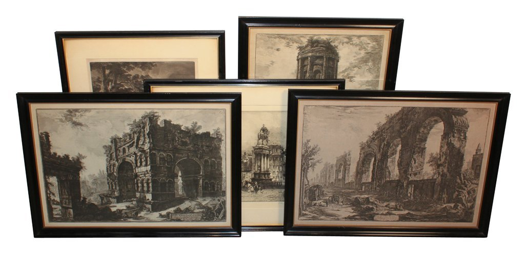 Group Of 5 Antique European Engravings