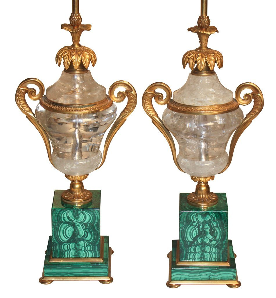 Fine Pair Of Malachite And Rock Crystal Lamps