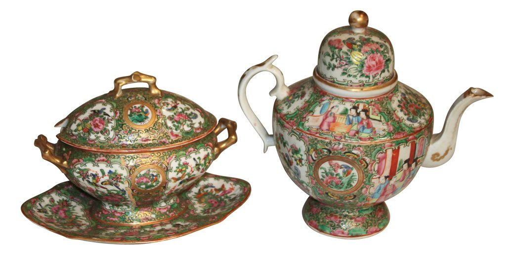 Rose Medallion Teapot And Creamer
