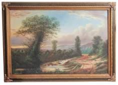William Thrasher, Landscape Oil On Canvas