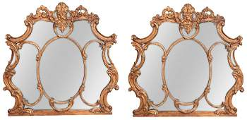 Pair Of Italian Carved And Gilt Wood Mirrors