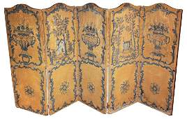 18th Century French Five Panel Canvas Screen