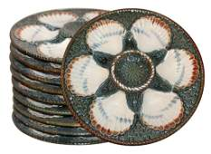 Set Of 10 Majolica Oyster Plates