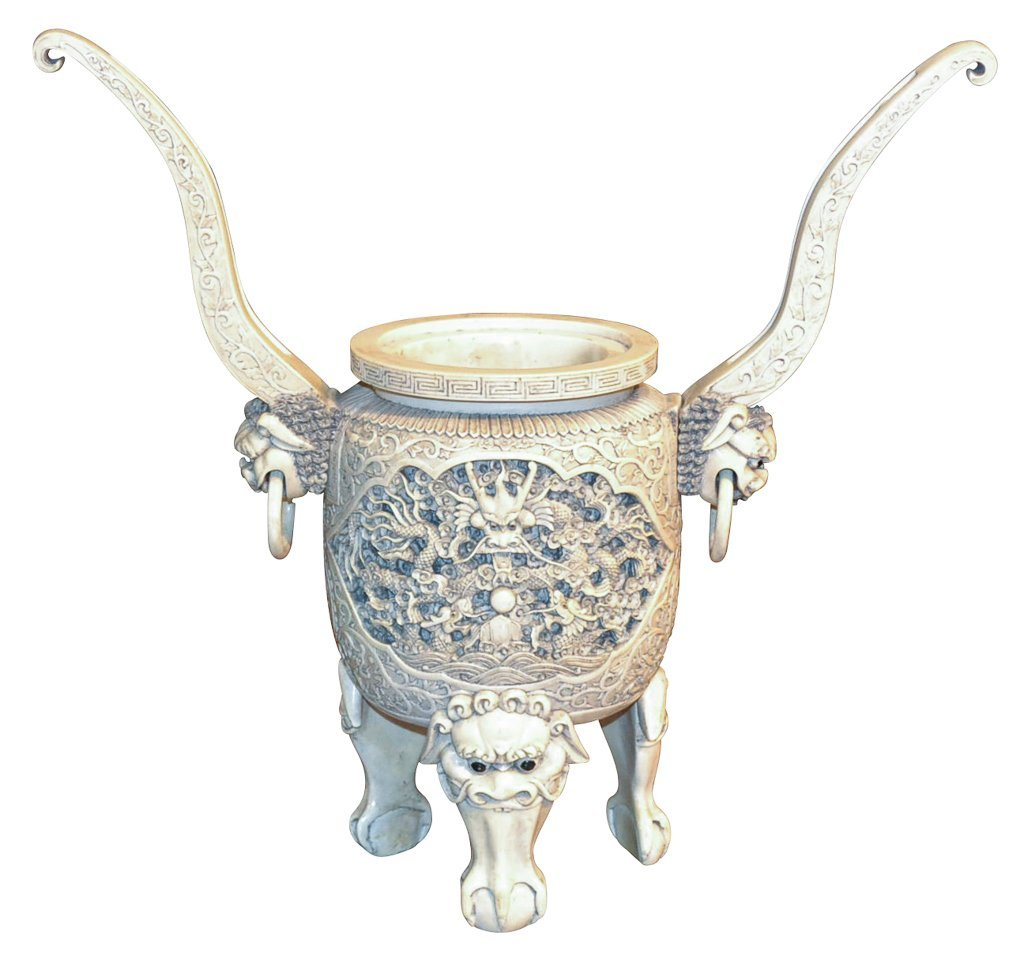 19th Century Chinese Carved Ivory Double Handle Urn