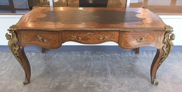French Style Inlaid and Bronze Mounted Bureau Plat