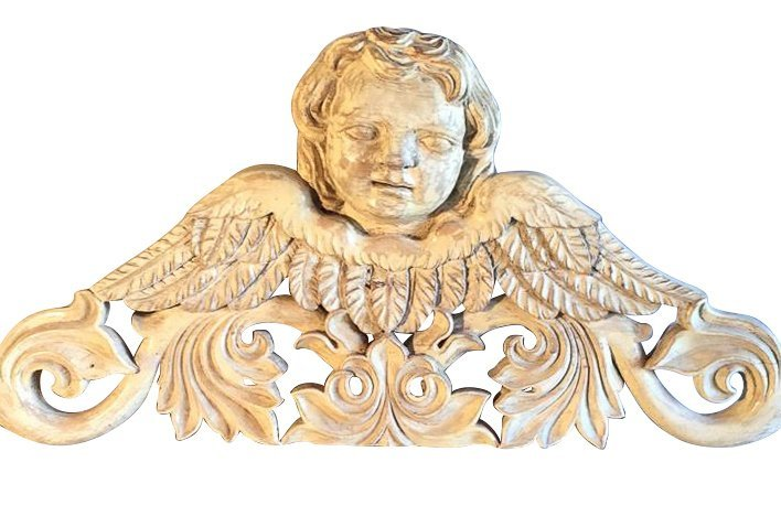 Carved Wood Angelic Panel