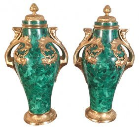 Fine Pair Of 19th C. Malachite Cassollettes
