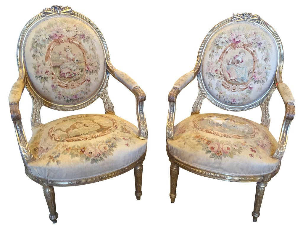 Pr. Of 19 C. French Louis Xvi Armchairs