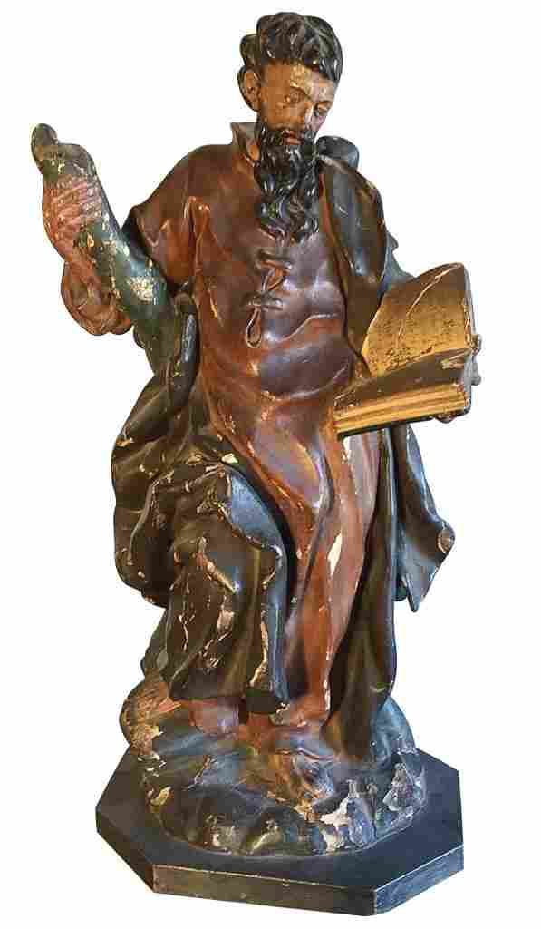 th C. French Carved Religious Statue,