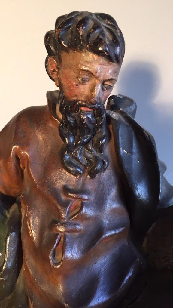 18th C. French Carved Religious Statue, - 2