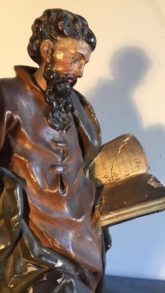 18th C. French Carved Religious Statue, - 5