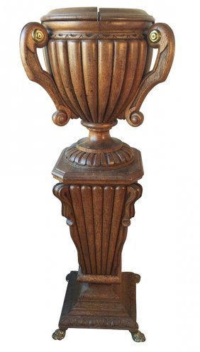 French Style Carved Urn On Pedestal
