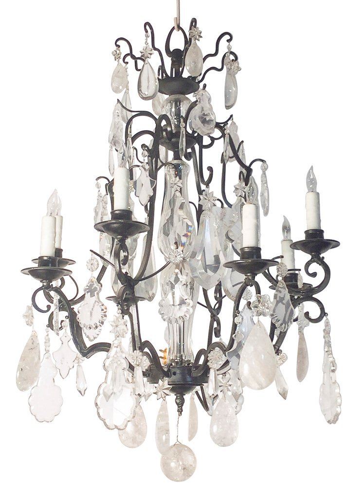 Antique French Rock Crystal Chandelier