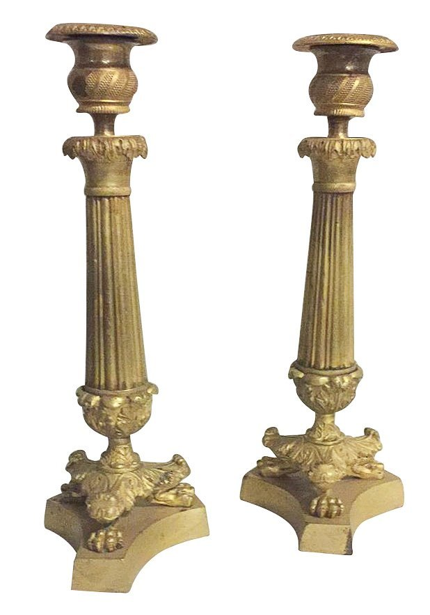 Pr.19th C. French Empire Candlesticks,