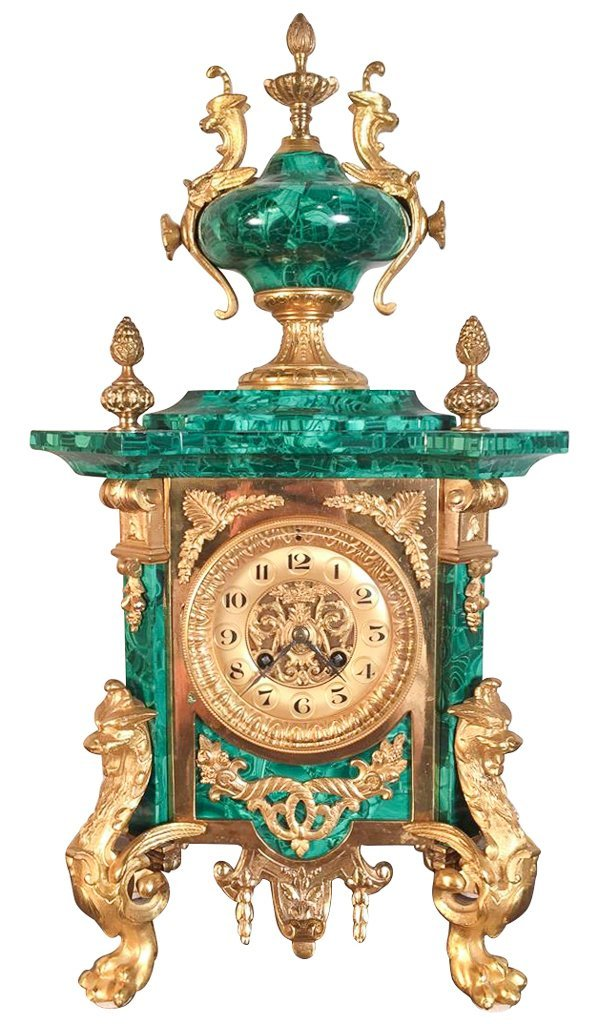 Fine 19th C. French Malachite Mantel Clock
