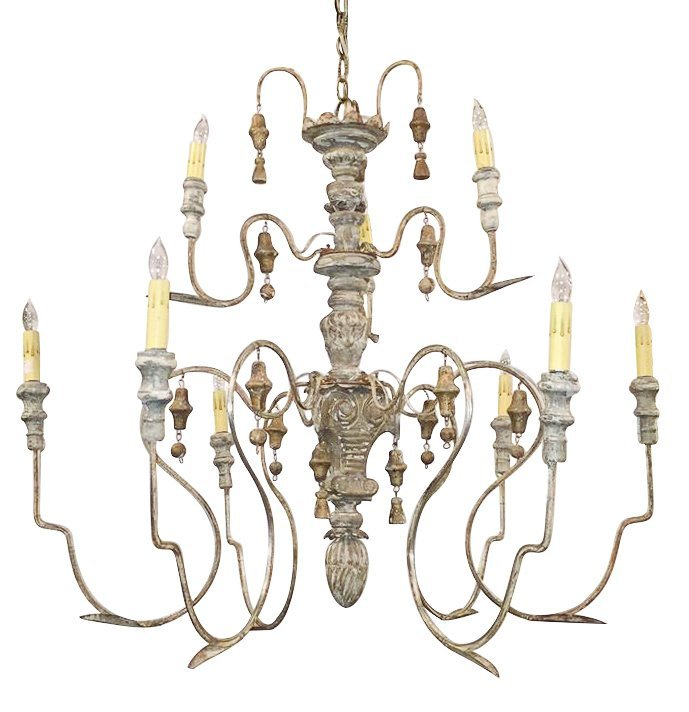 Italian Giltwood And Iron 9-light Chandelier