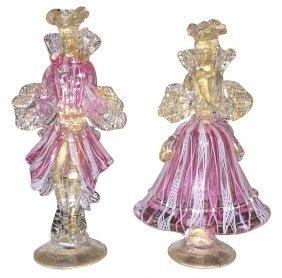 Pair Of Murano Glass Figures