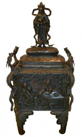 Exceptional 19th C. Oriental Bronze Opium Chest