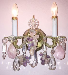 French Single 2 Light Wall Sconce With Pink