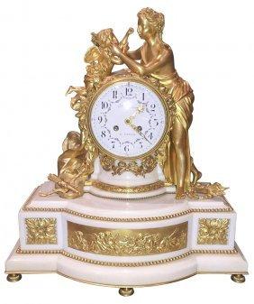 Fine Parisian Bronze And Marble Mantel Clock