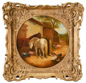 19th C. English Oil On Canvas Of Horses,