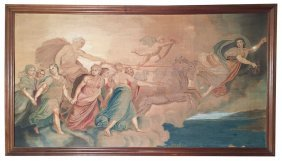 19th C. Continental Allegorical Painted Canvas