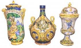 Group Of 3 Italian Faience Urns