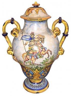 Italian Faience Double Handle Urn