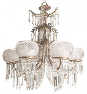 French Victorian Bronze & Crystal Chandelier