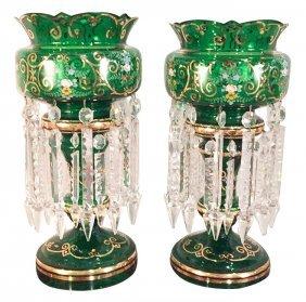 Nice Pair Of Bohemian Glass Vases