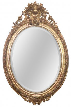 19th C. French Louis Xvi Oval Mirror