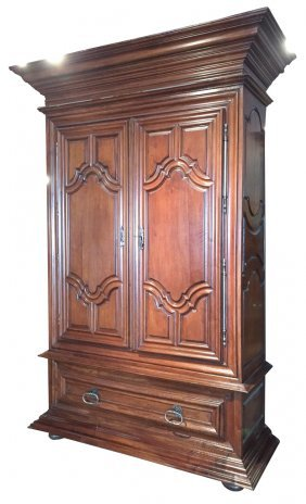 Large 18th C. French Carved Walnut Armoire