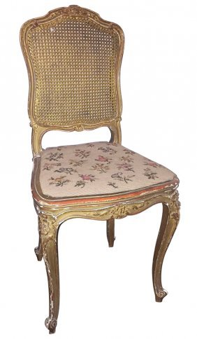 A 19th C. French Caned Gilt Vanity Chair