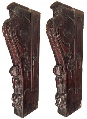 Large Pair Of 17th C. French Oak Corbels