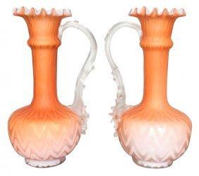 Pair Of Antique Satin Glass Vases