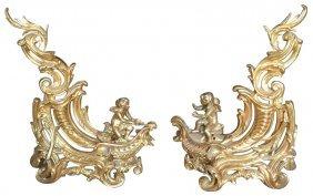 Fine Pr. Dore Bronze Chenet, With Putti