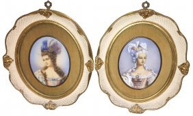 Fine Pair Of Framed Portraits On Ivory