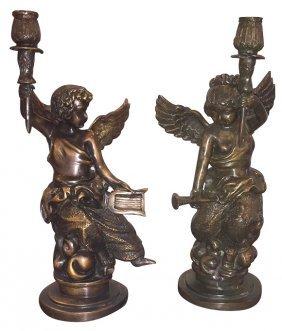 Pair Of Italian Bronze Putti Candlesticks