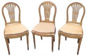 Pr. 19th C. French Giltwood Vanity Chairs
