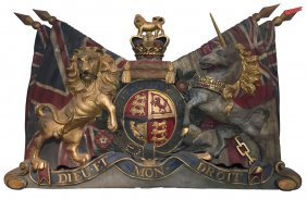 Large Wooden English Coat Of Arms,
