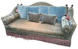 Custom Cut Velvet Upholstered Sofa Worn Seat