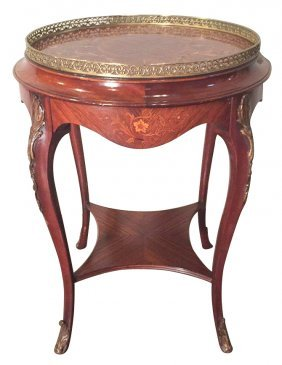 Nice Quality French Marquetry Inlaid Side Table