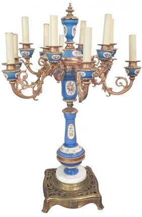 Large French Sevres Style Porcelain Lamp