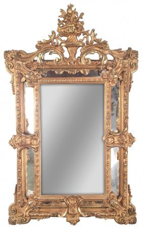 19th C. French Louis Xv Water Gilded Mirror