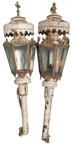 Early Pair Of French Brass Cathedral Lamps,