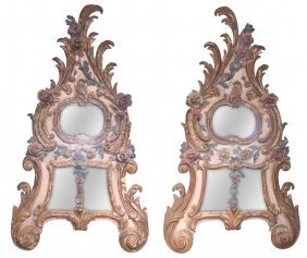Pair Of Italian Carved And Painted Mirrors