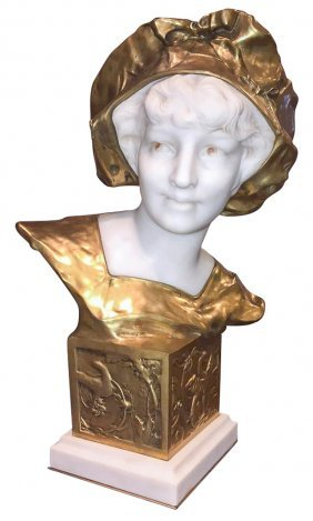 19th C. French Marble And Bronze Bust
