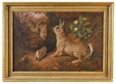 19th C. English Oil On Canvas Of Rabbits